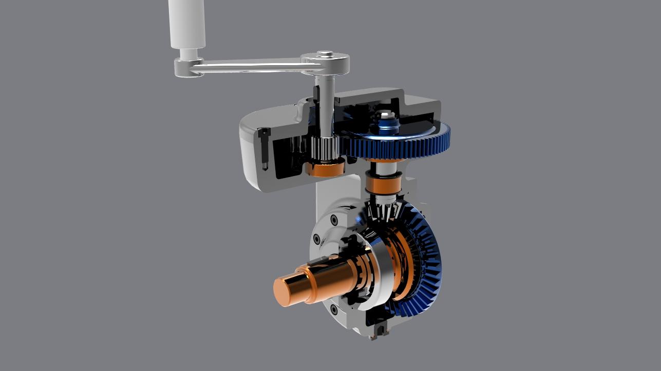 直齿轮锥齿轮传动机构3D图纸 STP IGS格式