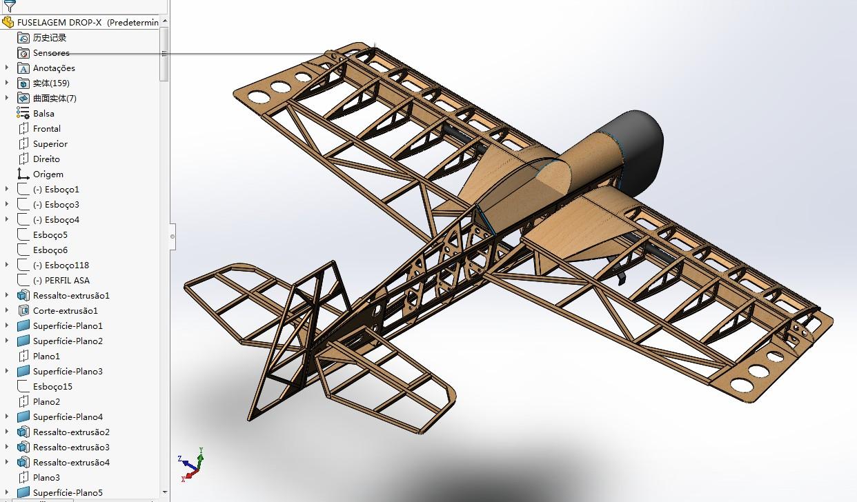 aeromodelo drop-x航模飞机框架3D图纸 Solidworks设计