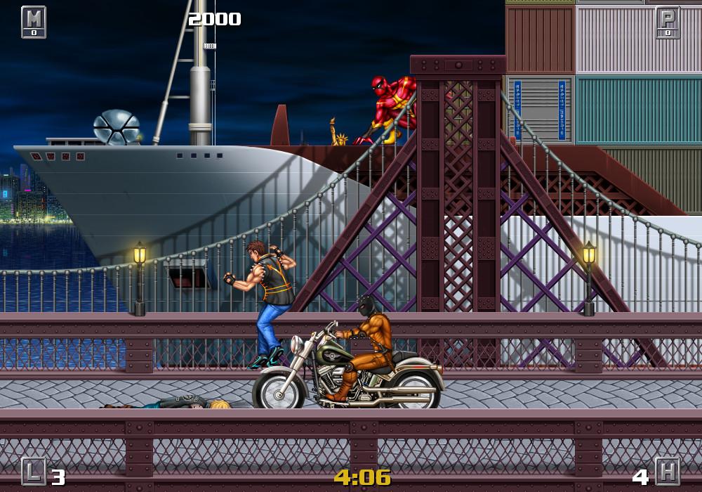 一款经典街机风格的横版动作游戏