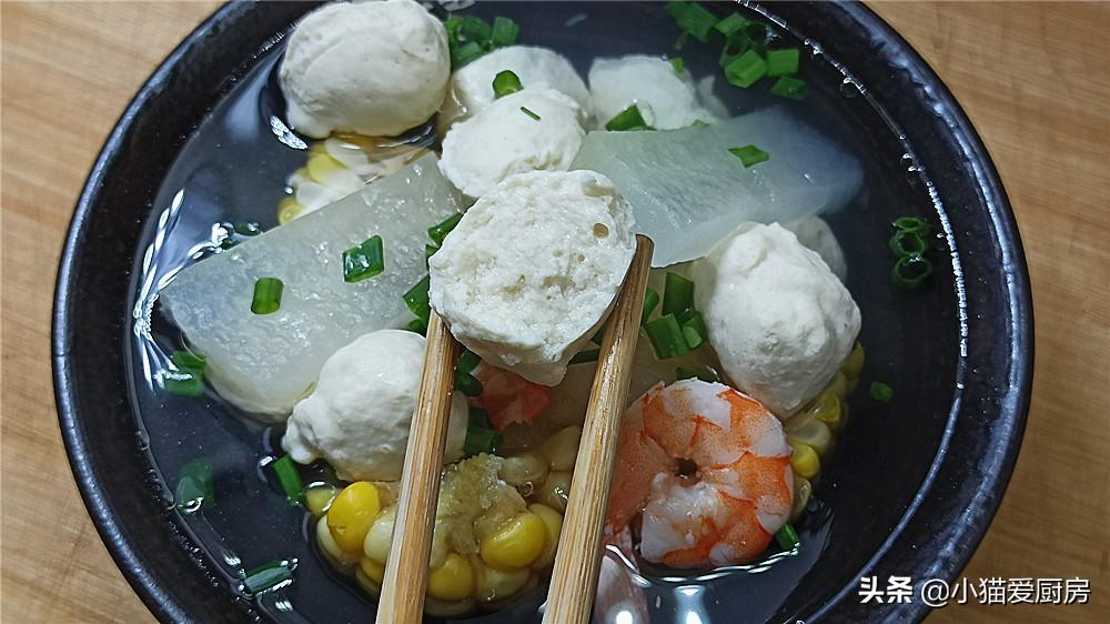 【鸡肉丸子冬瓜玉米虾仁汤】做法步骤图 口味清淡 减肥人士都