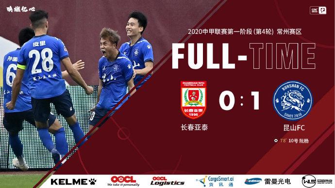 中甲-昆山1-0亚泰登榜首 泰州2-0北体大 贵州终取首胜