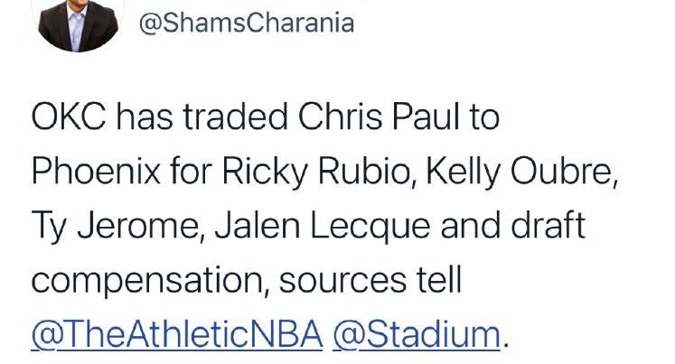 2換5!保羅被雷霆交易,加盟太陽隊組三巨頭,新賽季很有機會進季後賽!-籃球網