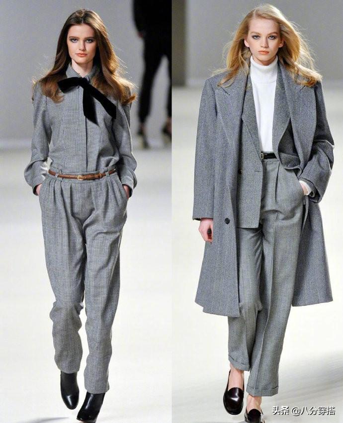 秋冬高级经典的同色系穿搭!灰色衬衫搭西装裤率性洒脱,干练精致