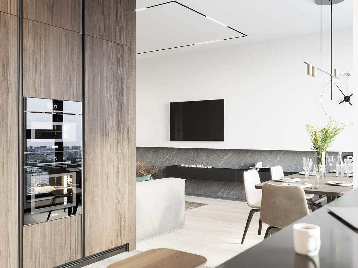 140㎡現代公寓,胡桃木氣質出眾,碾壓出道