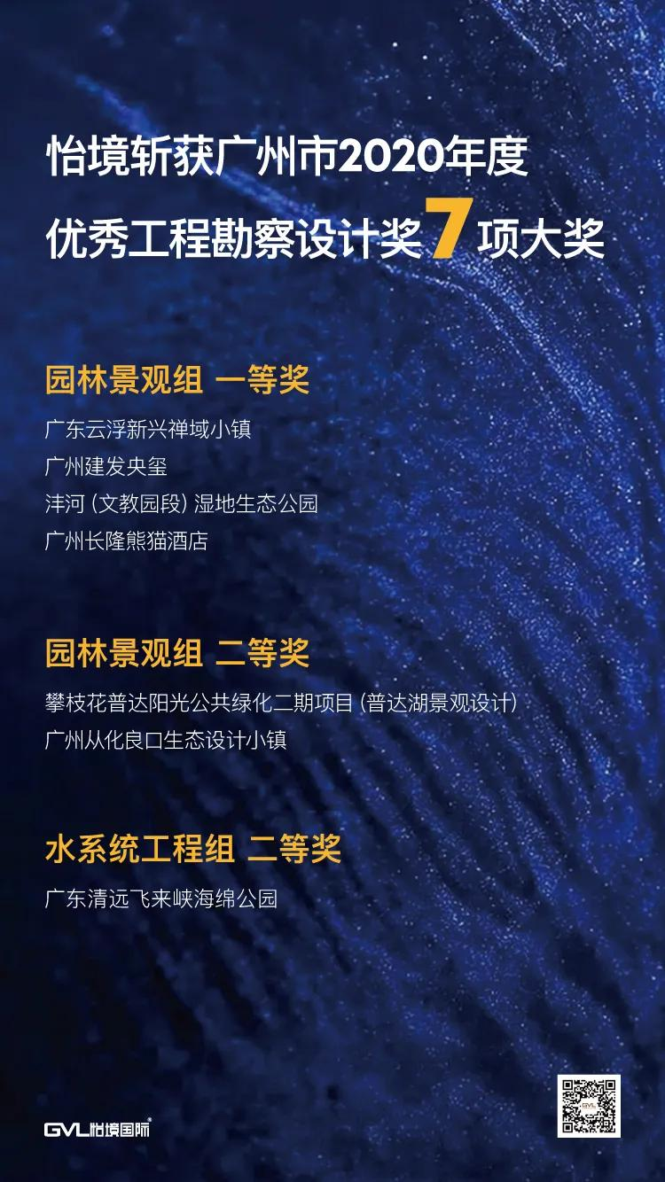 怡境斩获广州市2020年度优秀工程勘察设计奖7项大奖  喜讯