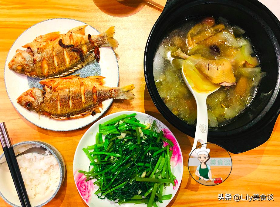 晚餐做法:蒜蓉炒空心菜+香煎立鱼+鸡腿节瓜汤