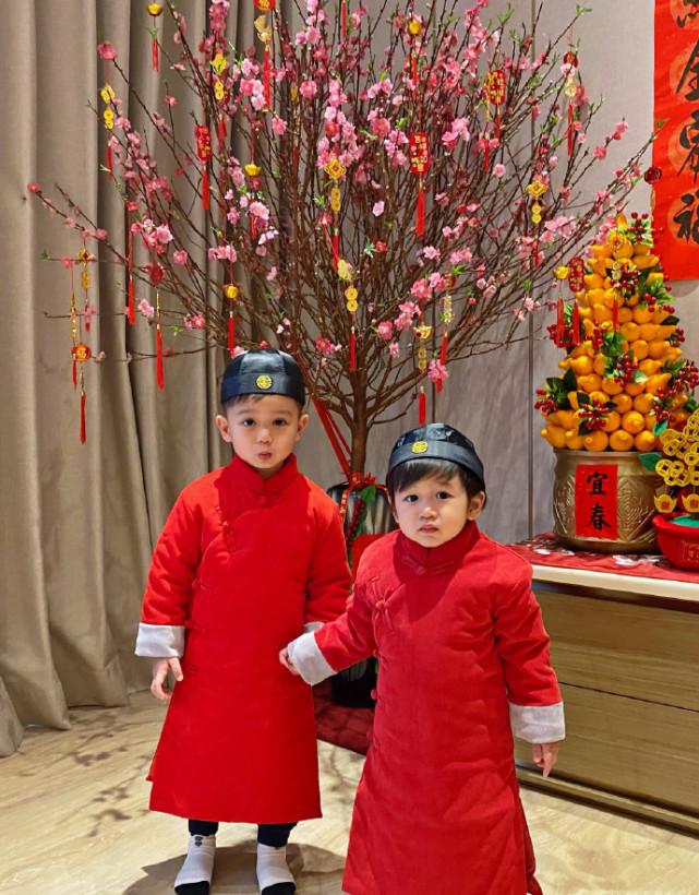 胡杏兒老公帶倆兒子拜年,奕霆奕霖穿喜慶紅裝,手拉手賣萌超可愛
