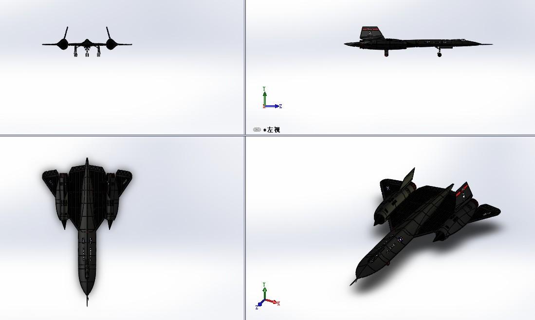 洛克希德 SR-71 黑鸟侦察机战斗机3D数模图纸 Solidworks设计