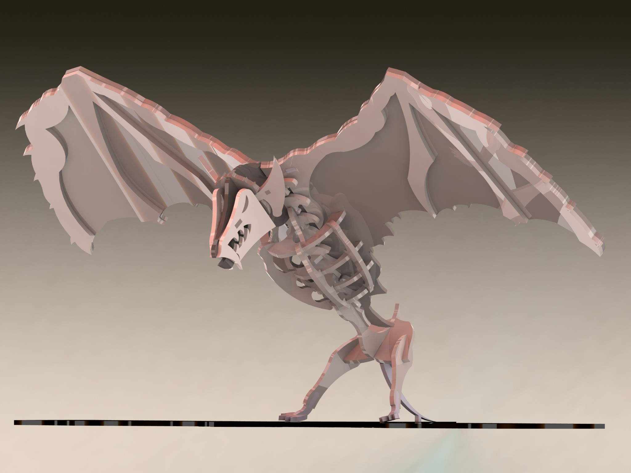 蝙蝠立体拼装金属模型3D图纸 Solidworks设计 附STEP IGS