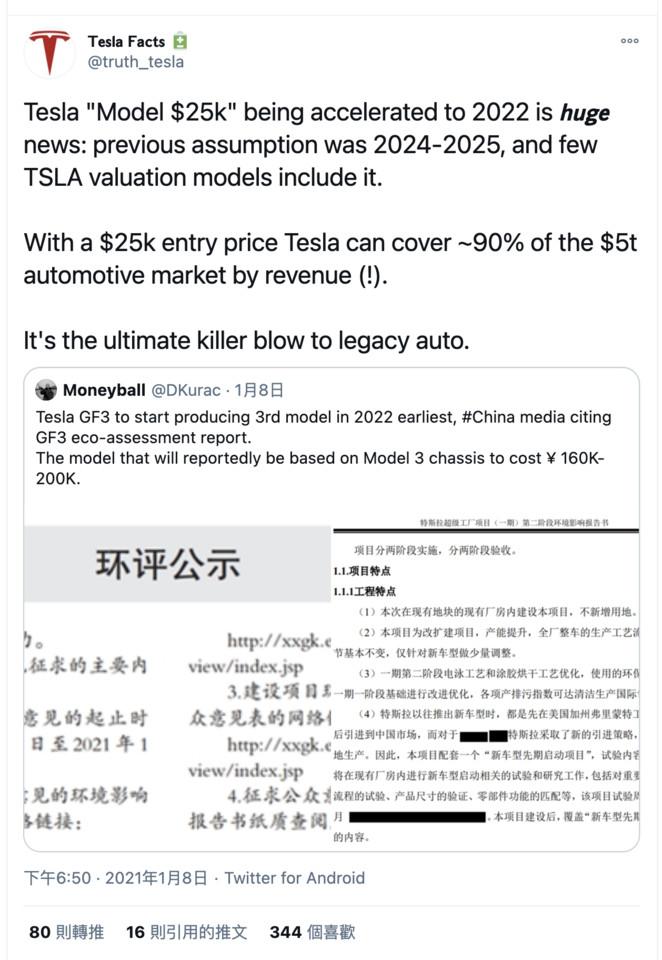 特斯拉2w5美元电动车 申请文件曝光?4680电池芯成关键