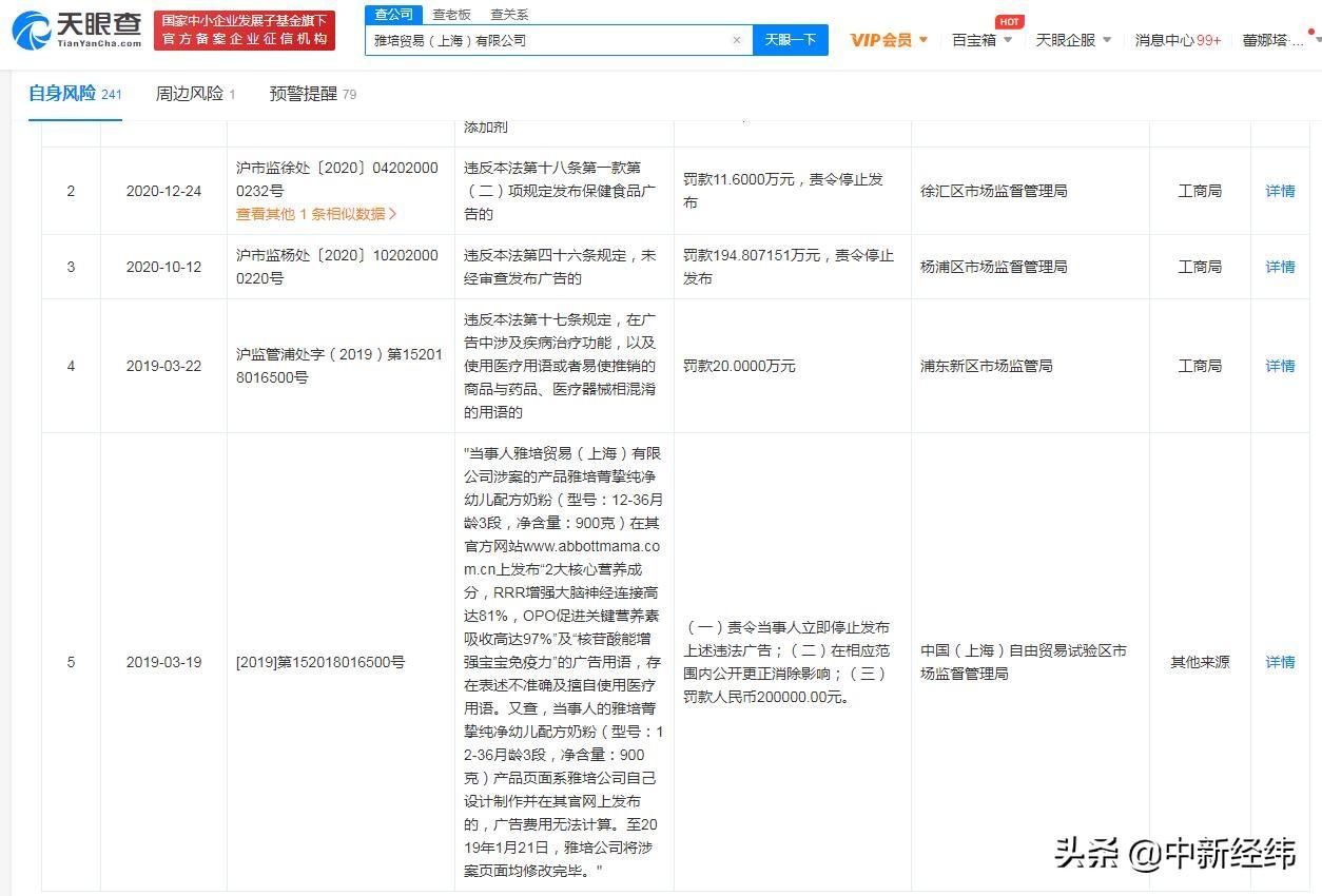 雅培回应奶粉检出香兰素被罚909万:致歉并回收产品
