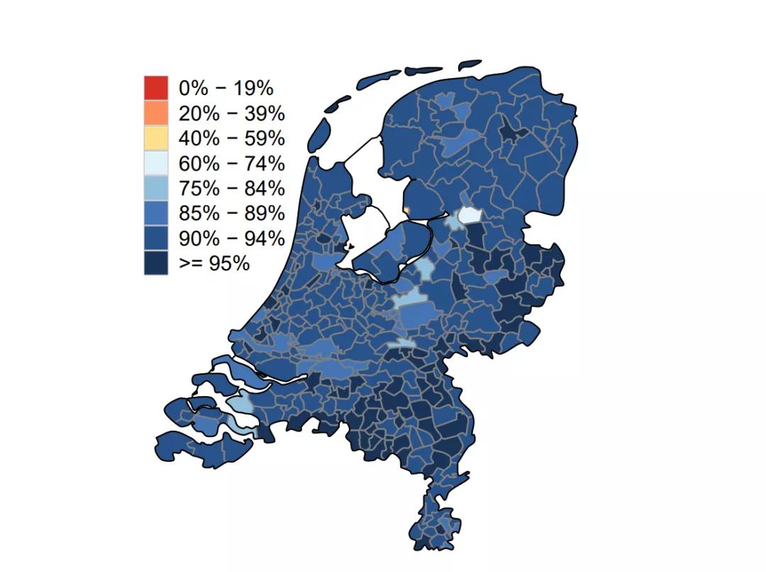荷兰各地区疫苗接种数据公布,鹿特丹四大城市最低