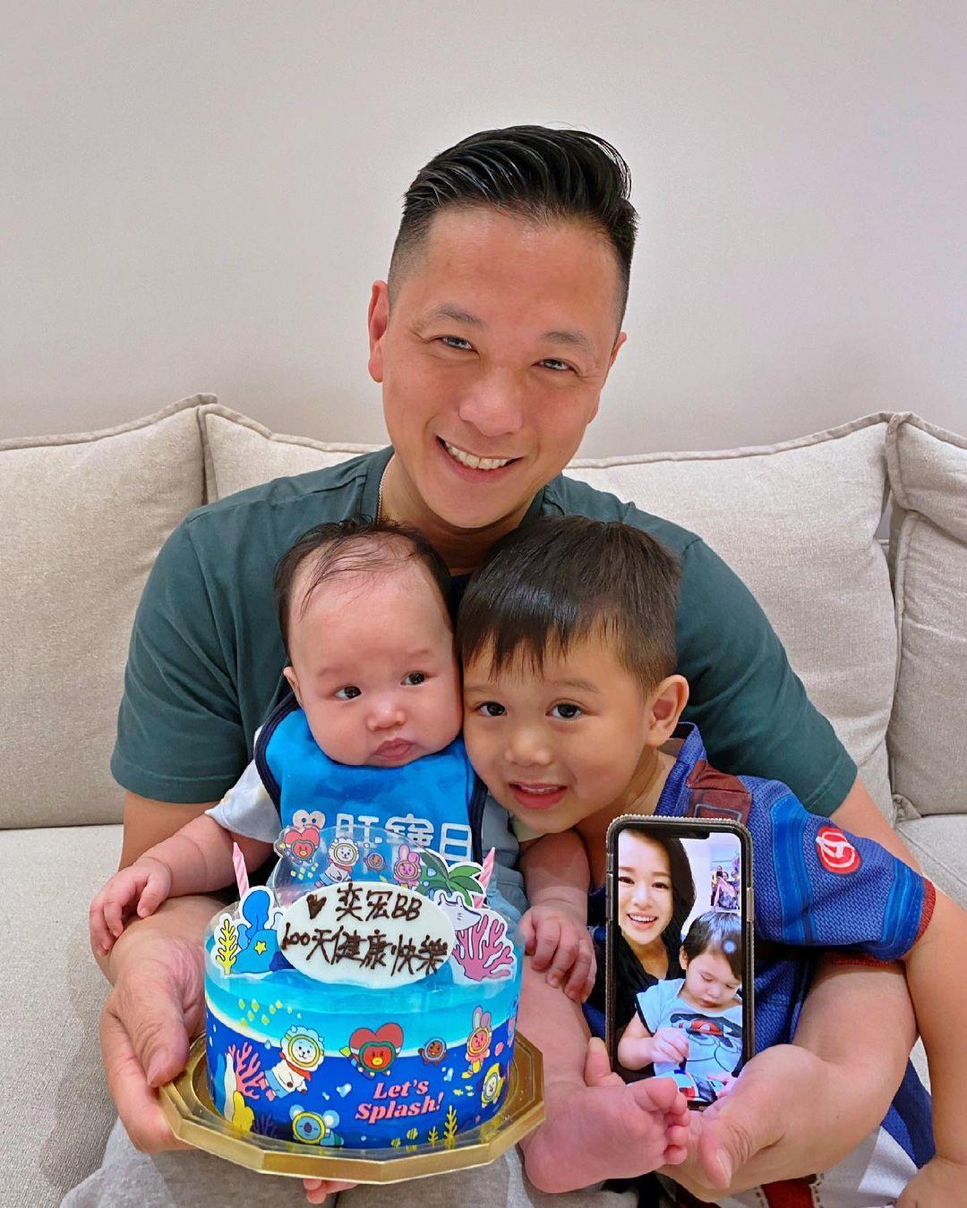 李乘德晒照为三胎儿子庆祝百日,胡杏儿隔空出镜,奕宏神态像奕霆