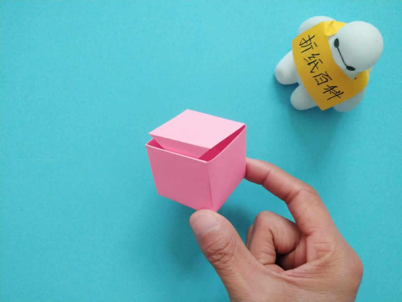 教你折纸方形带盖礼品收纳盒,简单又漂亮,手工折纸图解教程 家务 第8张