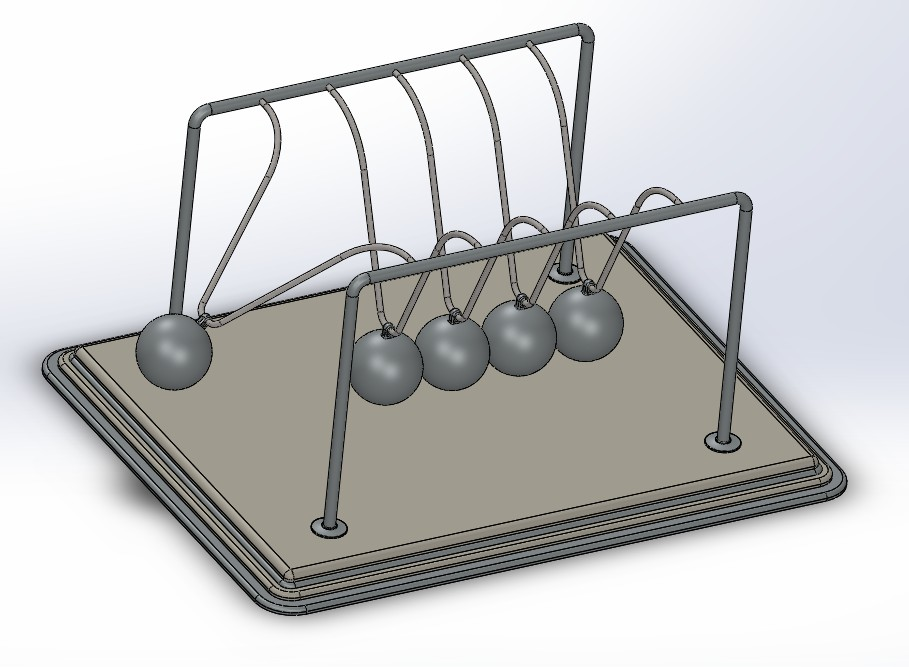 Newton's Cradle牛顿摆模型3D图纸 Solidworks设计 附IGS