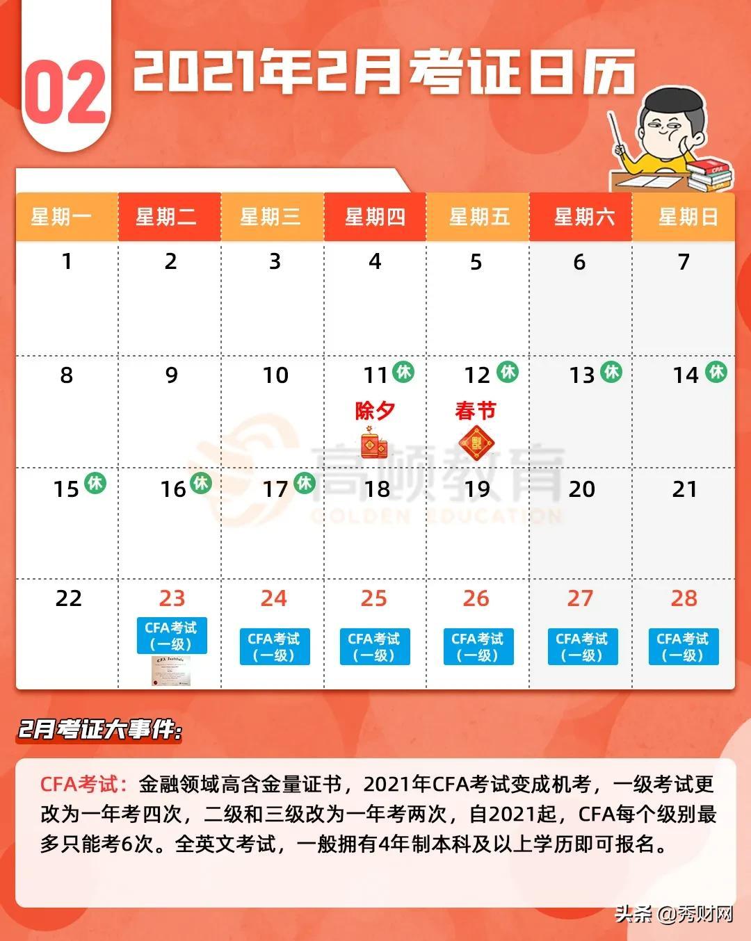 2021年会计考证日历