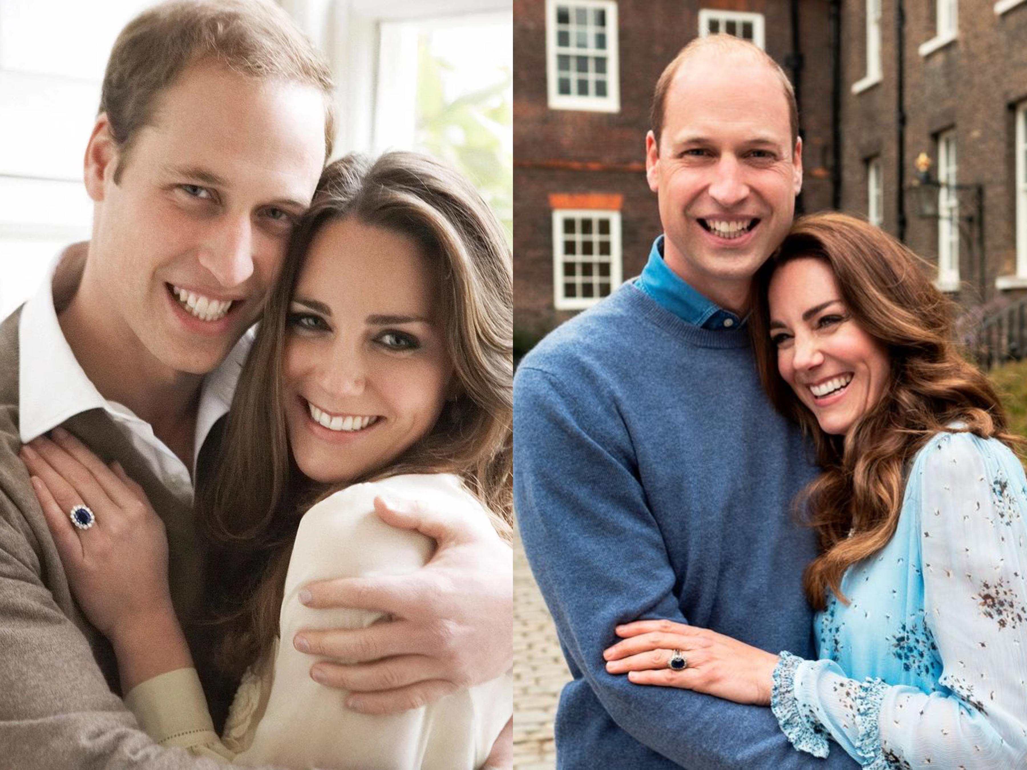 威廉凱特重拍10年前訂婚照,威廉變禿了,凱特更成熟,依舊恩愛