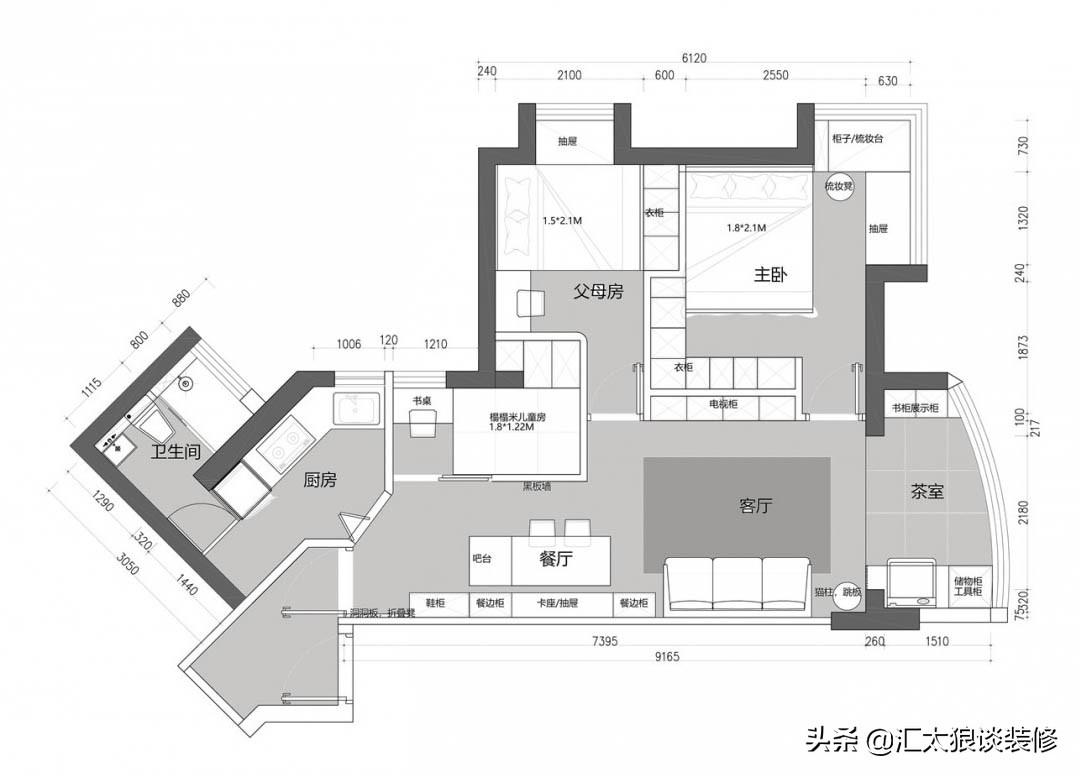 53㎡小戶改三房,完工后清爽敞亮儲物足,品質也很棒,值得借鑒