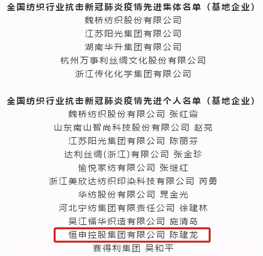 """恒申集团荣获""""2020国家纺织产品开发基地企业十大新闻""""称号"""