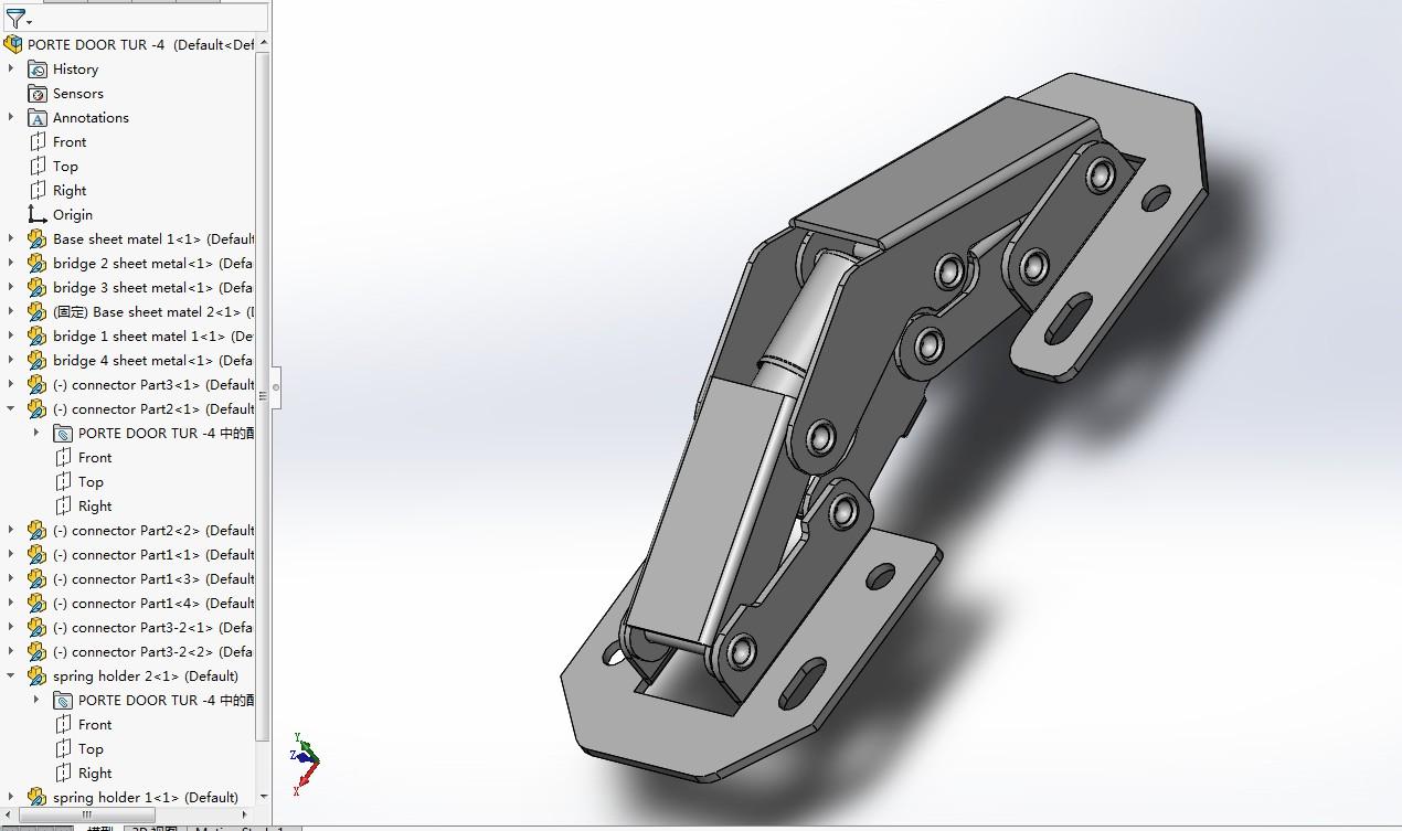 PORTE DOOR TUR铰链3D数模图纸 Solidworks设计 附STEP