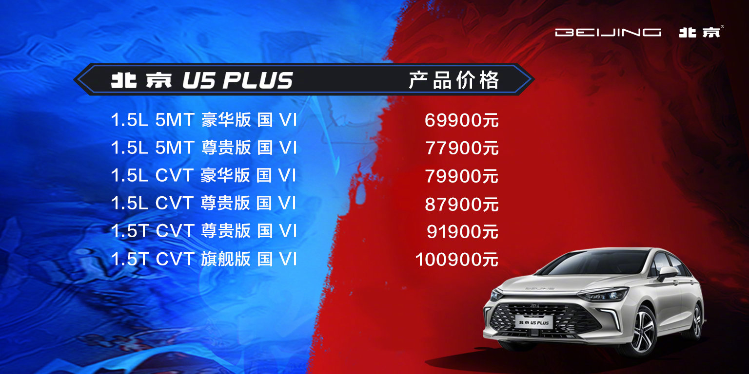 外观内饰都有较大变化,北京U5 Plus上市售6.99~10.09万元
