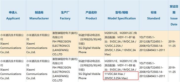 小米10专业版获进网许可证