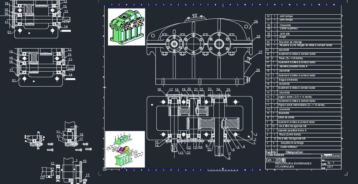 两级圆柱直齿轮斜齿轮减速器3D图纸 Solidworks设计 附dwg工程图