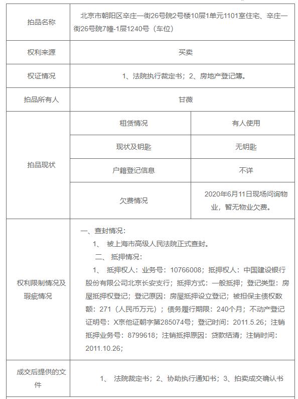 贾跃亭前妻甘薇拍卖北京豪宅,面积近200平方米,1545万元起拍