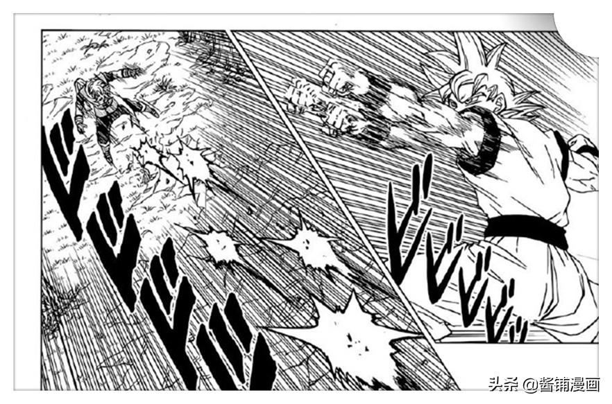 《龍珠超》漫畫73回,銀白發悟空被擊中心髒後昏厥,貝吉塔VS諾拉