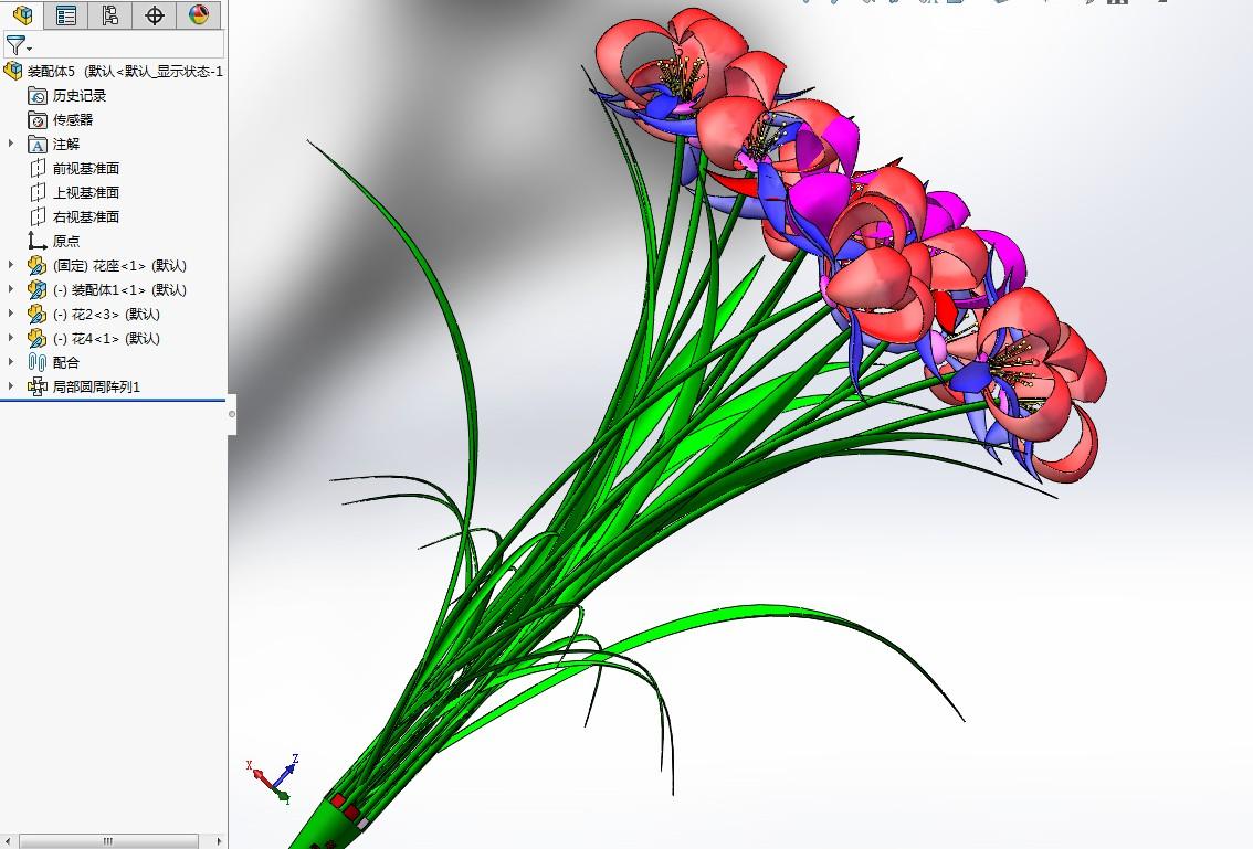 鲜花模型3D图纸 Solidworks设计