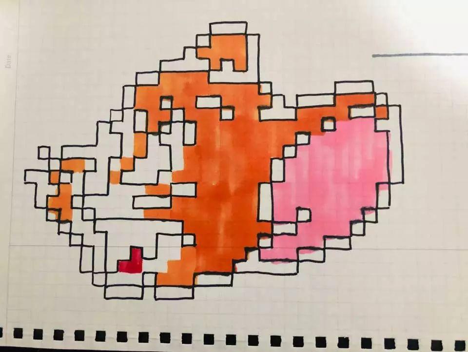 亲子互动填涂色手绘像素画网格画详细教程