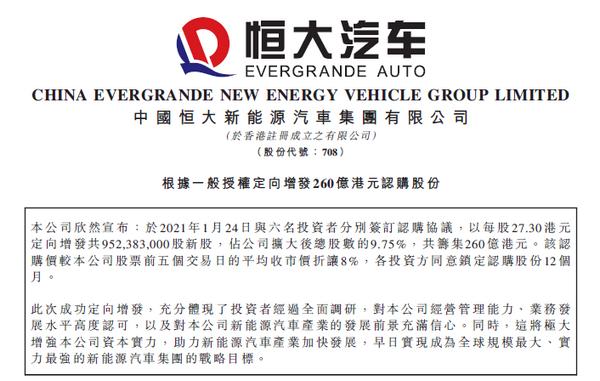 """资本聚焦新能源""""新星"""" 恒大汽车引战260亿投资飙升52%"""