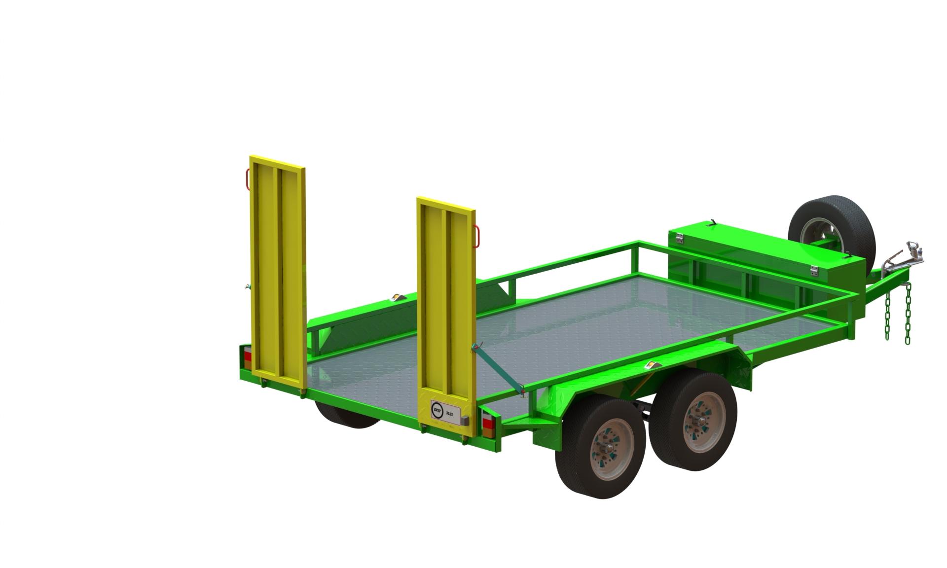 2440 x 1600单轴拖车3D数模图纸