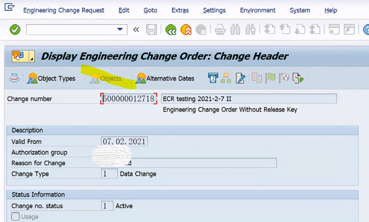 SAP PP使用ECR去修改Recipe,报错说该功能不支持