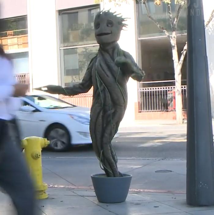 这位只有一条腿的运动员,在万圣节把自己装扮成一棵树