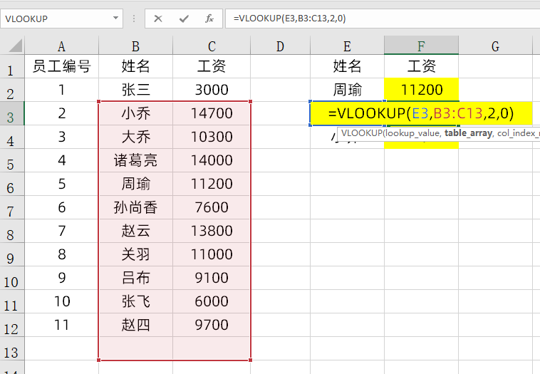 Vlookup公式匹配出错,分析思路,F4来帮忙