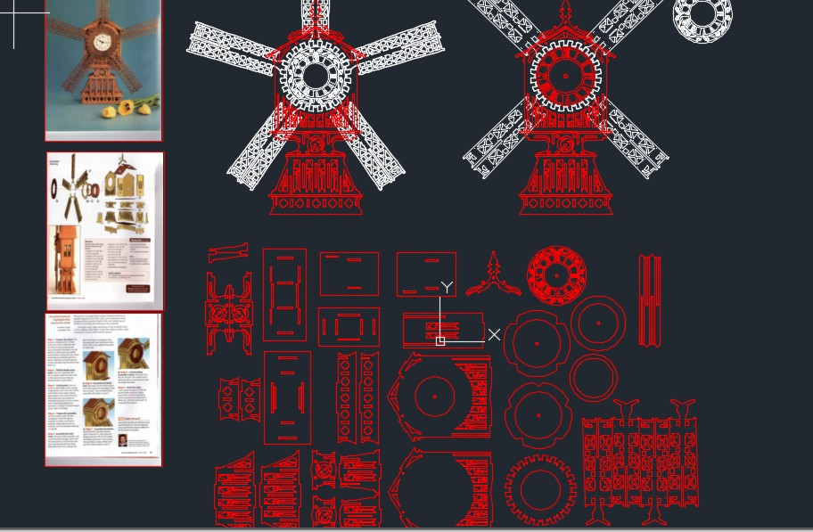 windmill clock风车钟拼装立体模型平面图纸 dxf格式