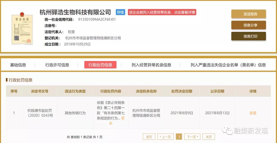 杭州驿浩生物科技有限公司因产品新零售模式涉嫌传销被处罚50万元