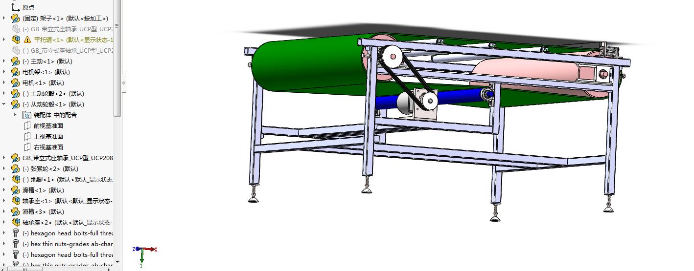 非标托辊皮带输送机3D图纸 Solidworks设计