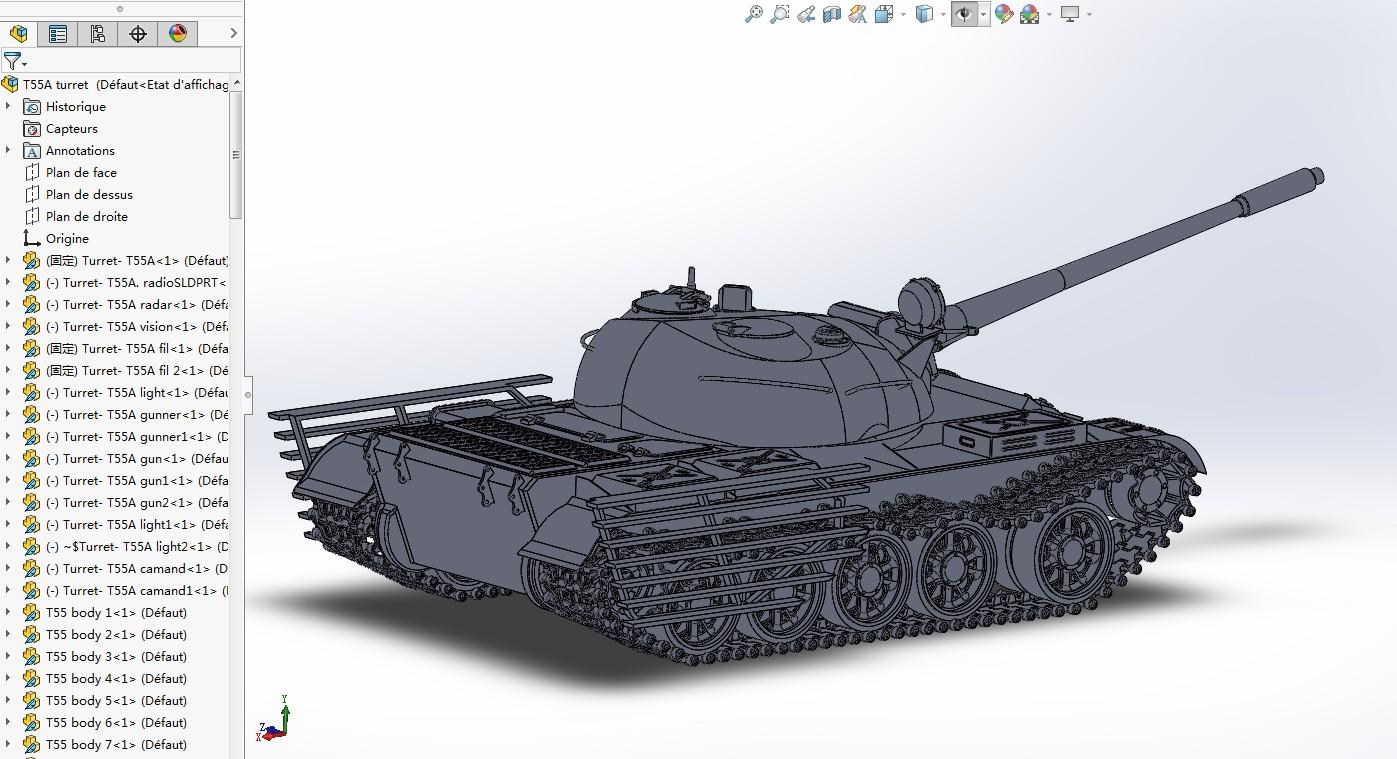 T-55A主战坦克模型3D图纸 Solidworks设计