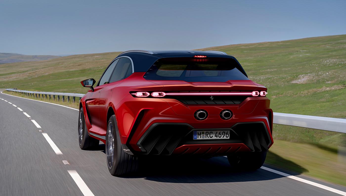 法拉利Purosangue SUV渲染圖,量產要是這樣就帥了