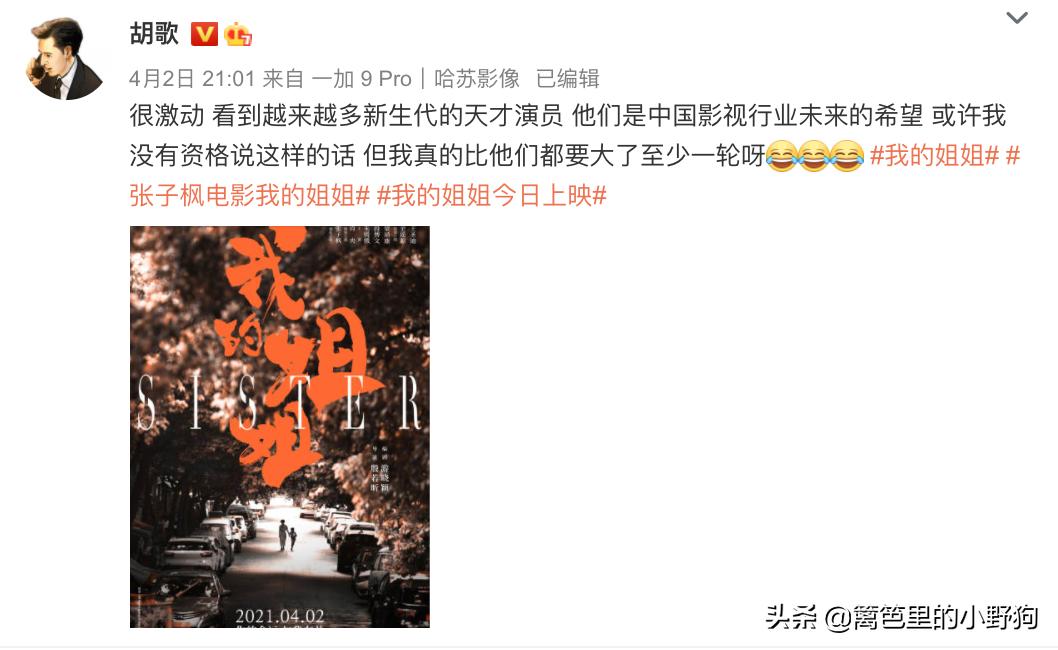 王源、胡歌、杨紫为《我的姐姐》打call!张子枫演技爆炸