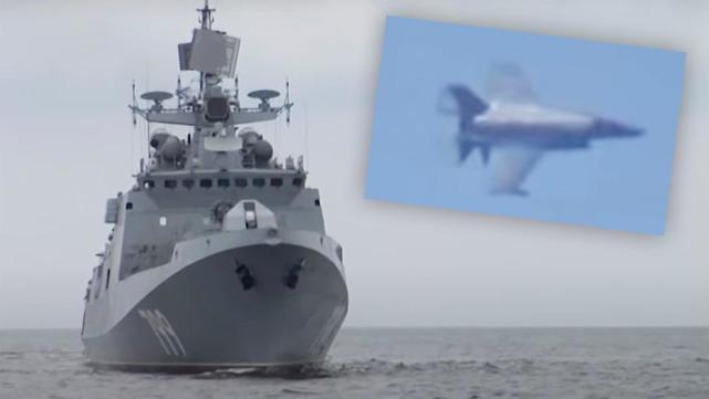 还以颜色?美媒:英航母上的F35B战机飞越俄军舰上空,训练击沉敌舰