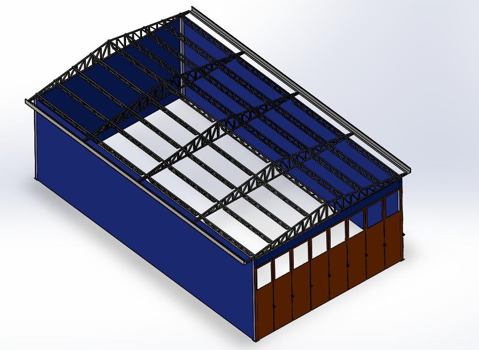储物仓库简易结构模型3D图纸 Solidworks设计