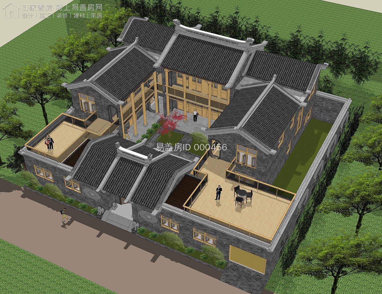 建了不亏的仿古四合院,青砖和木材的使用让设计更为古色古香