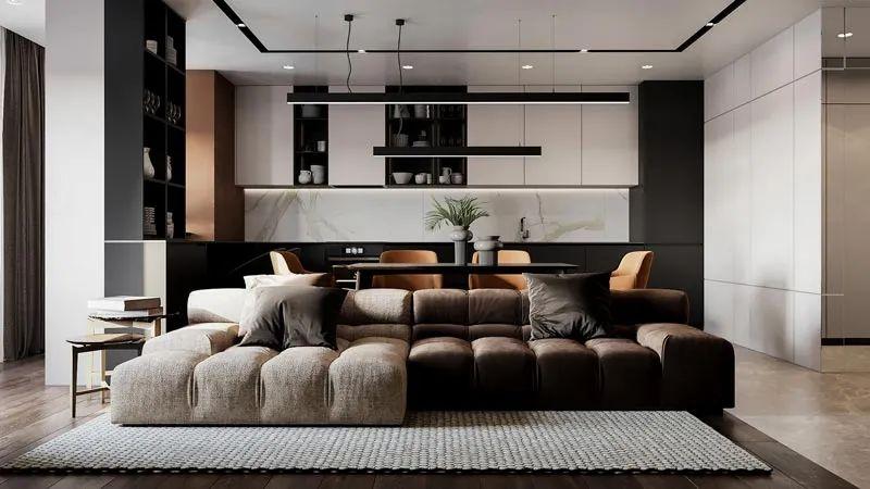 不得不说沙发不靠墙,家就是好住,洄游动线来回拿东西太方便了