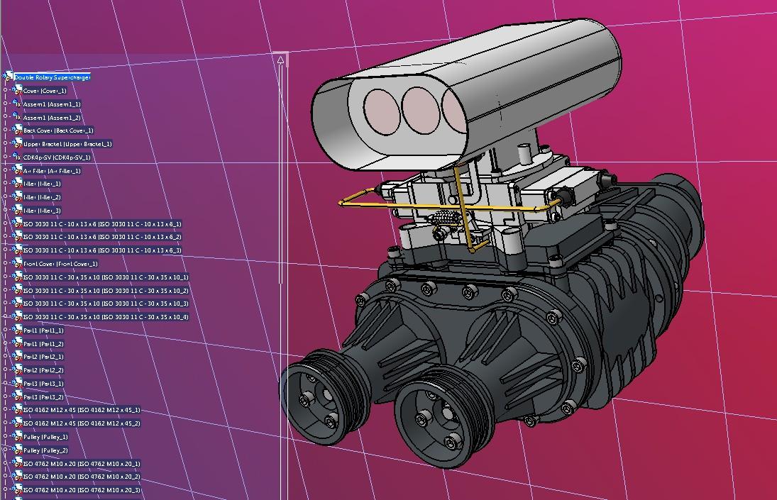 双旋转增压器3D数模图纸 STP格式